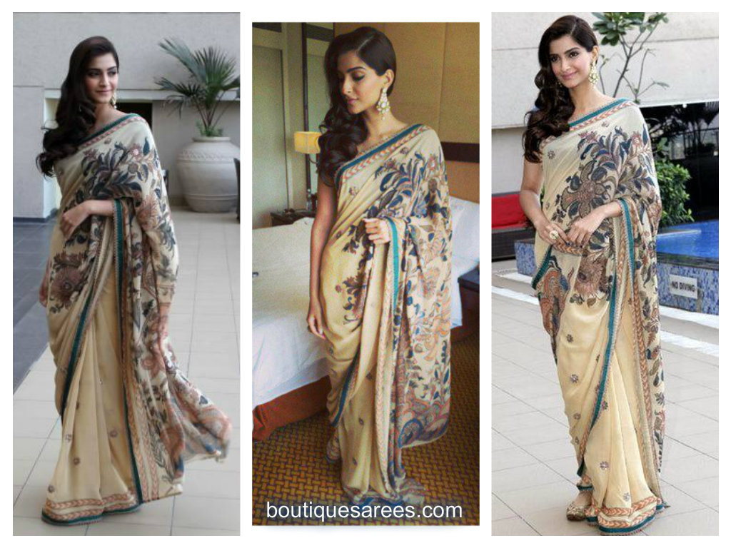 sonam kapoor in patch work saree
