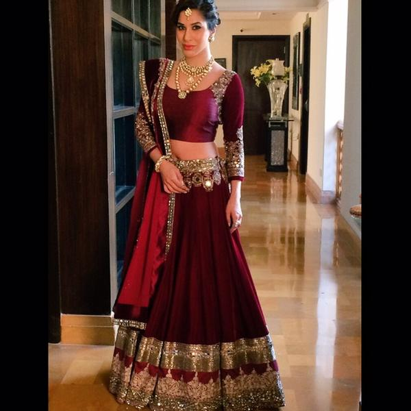 Image result for Sophie Choudhry in red lehenga