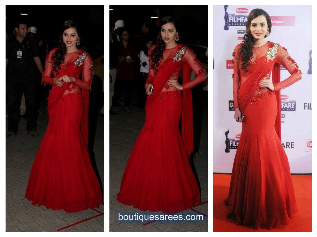 red saree gown – Boutiquesarees.com