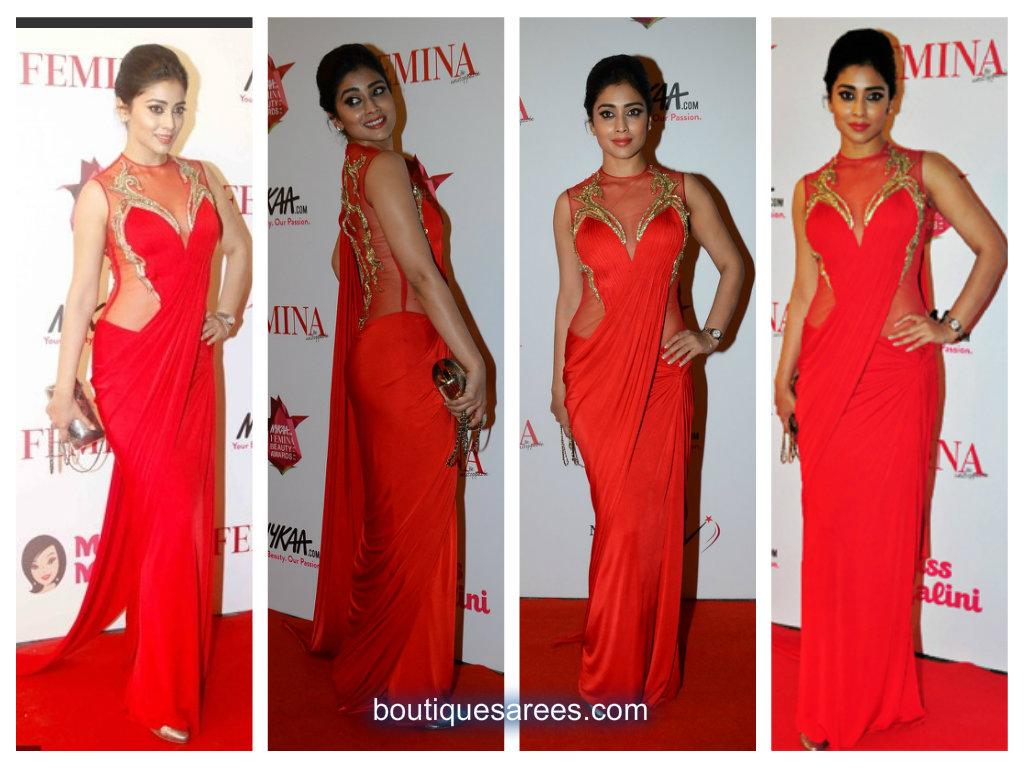 Shriya in red saree