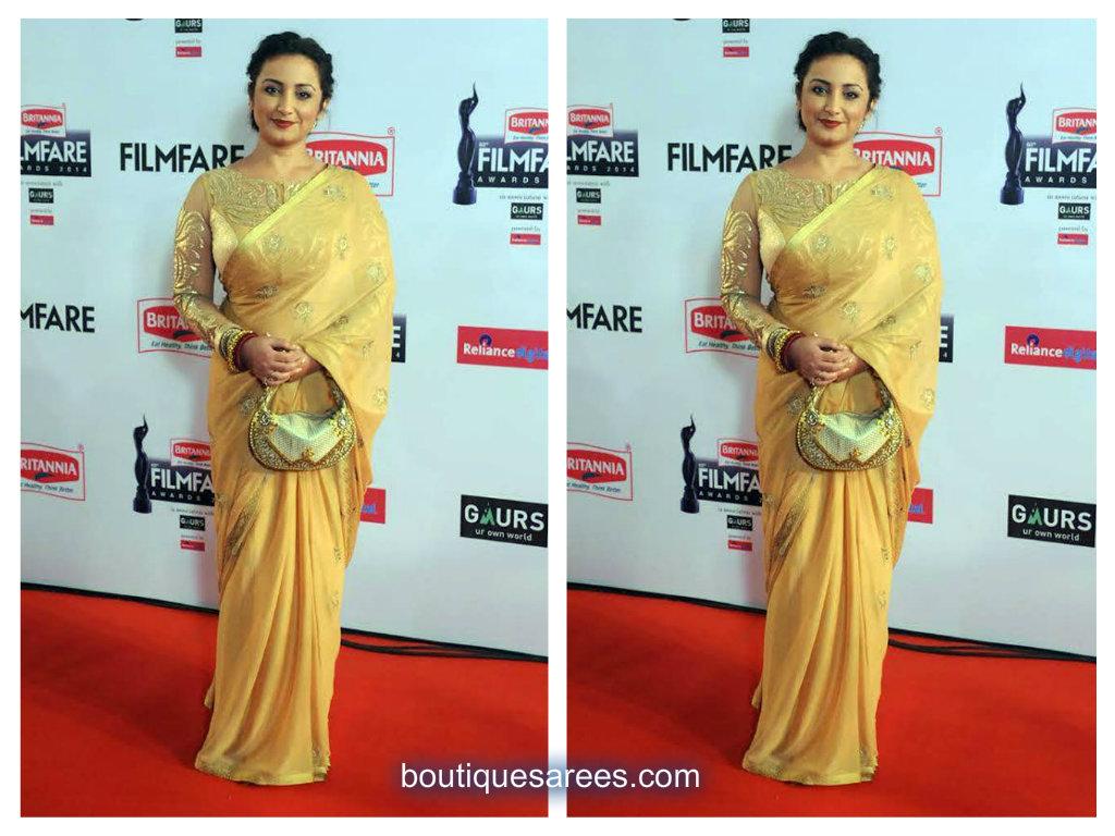 divya dutta in yellow saree