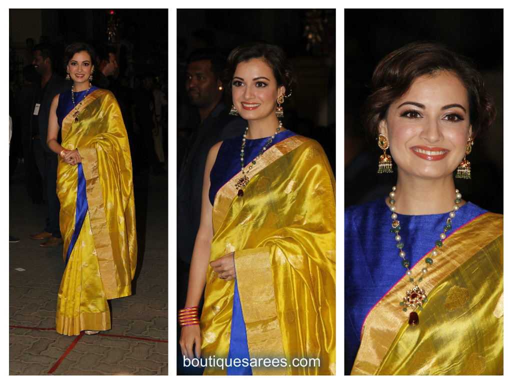 diya mirza in raw mango saree