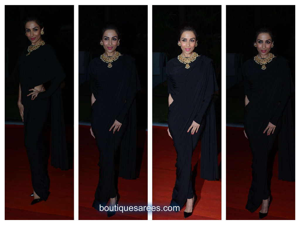 malaika arora in black saree
