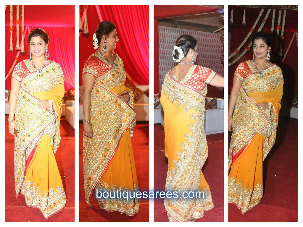 pinky reddy in yellow saree