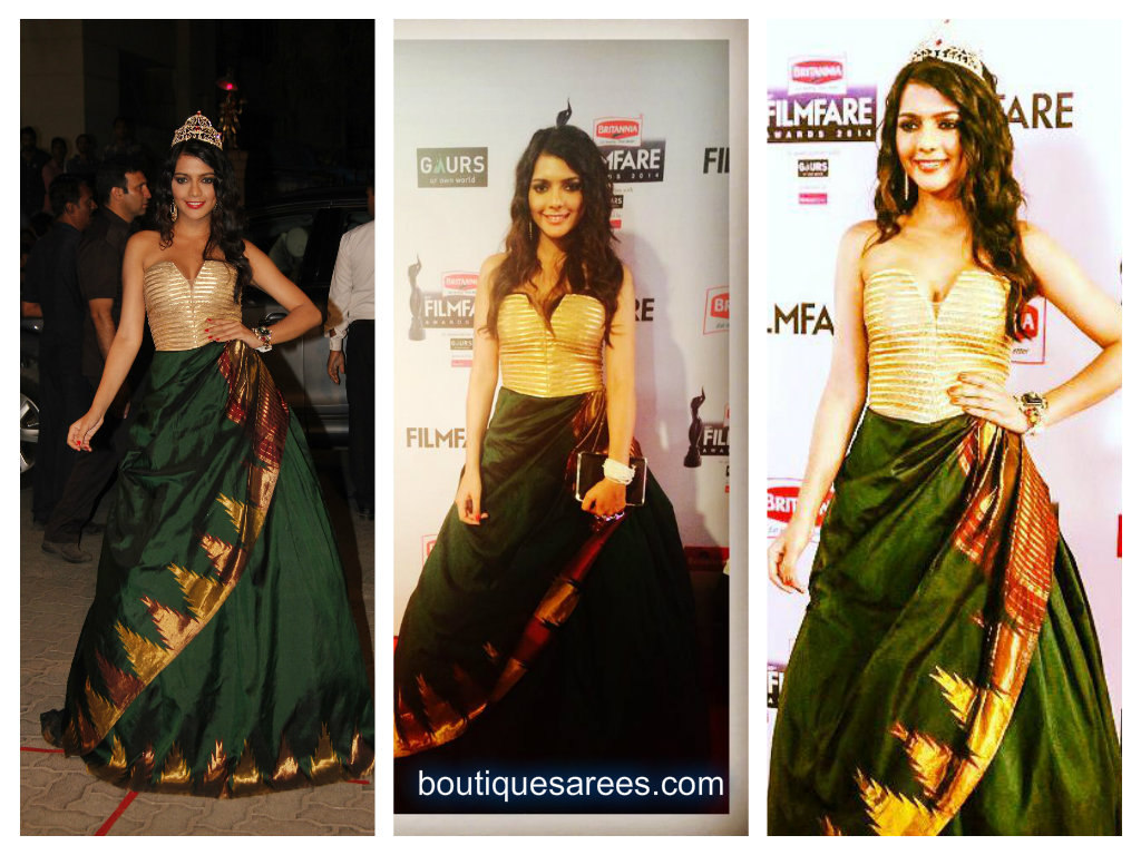 ruhi singh in green silk saree