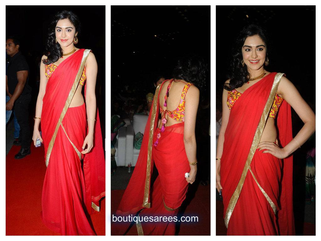 adah sharna in red saree