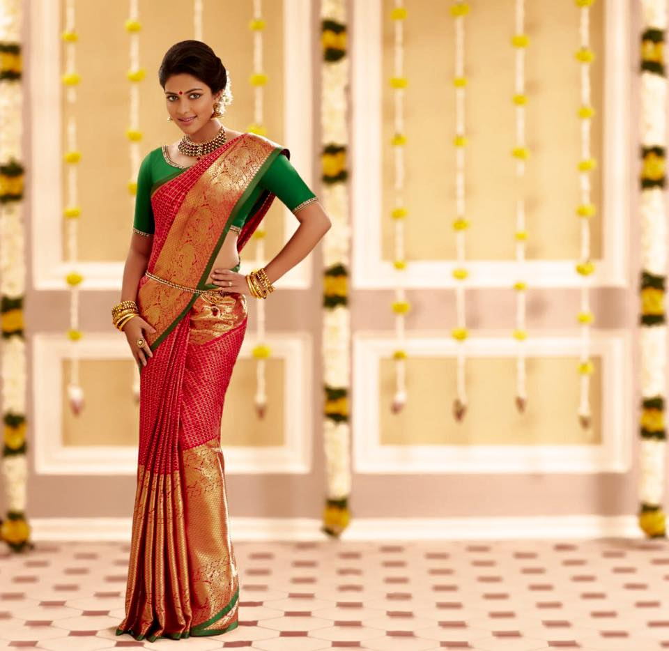 amala paul in traditional silk saree