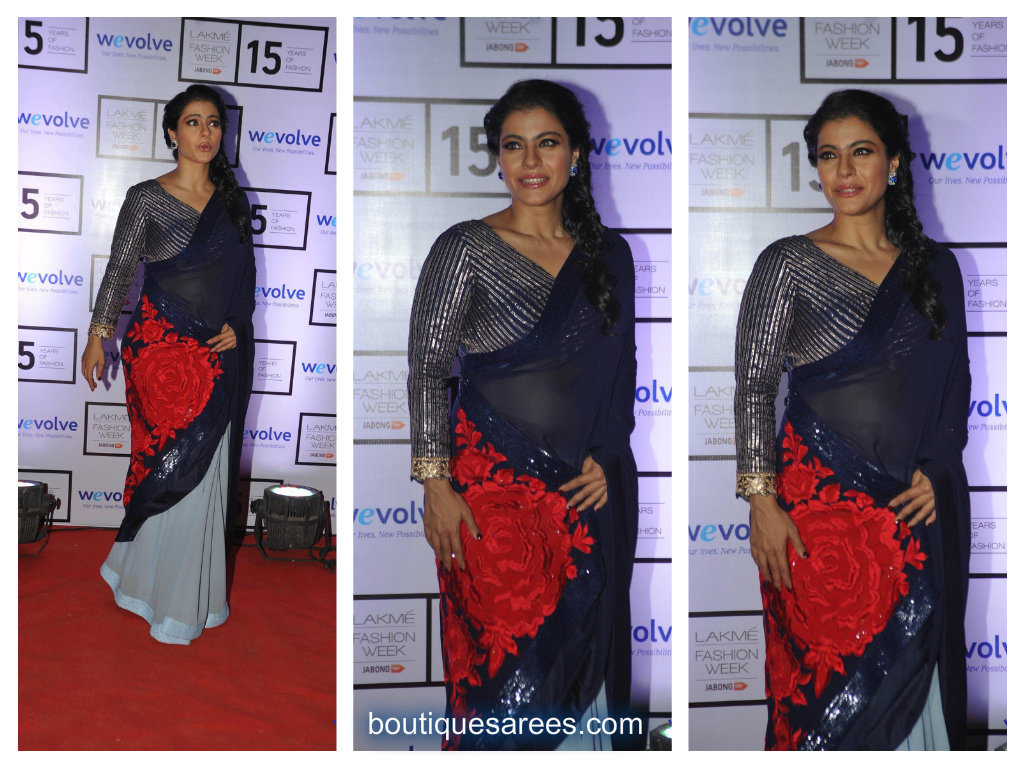 kajol in half and half saree