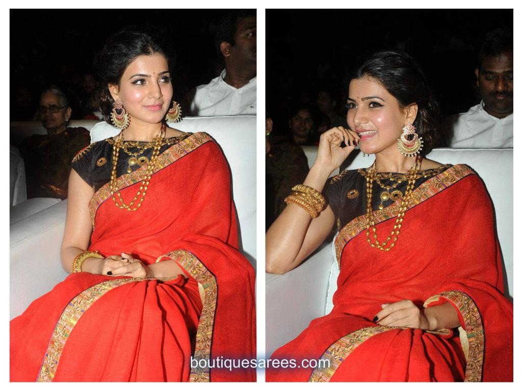 samantha in red saree
