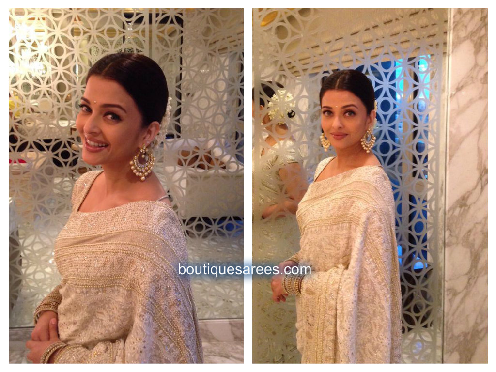 aish in sari blouse design