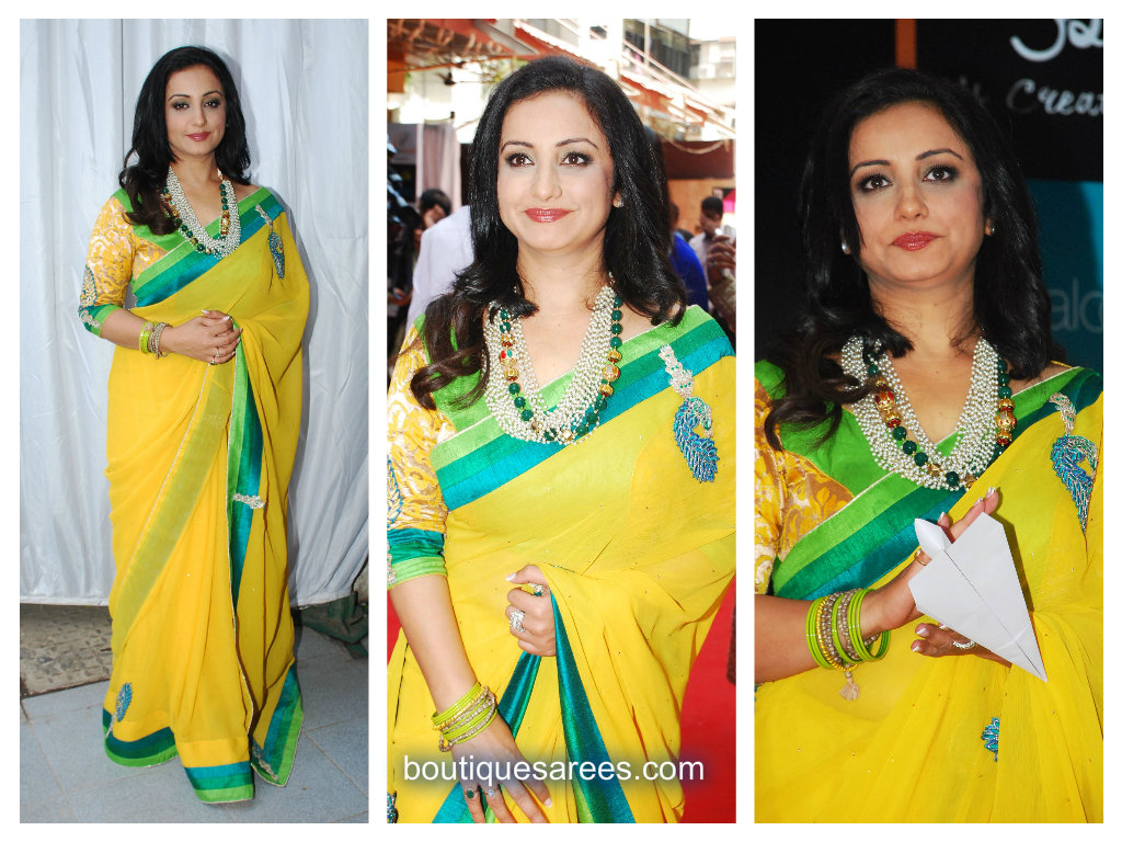 divya duptta in yellow saree