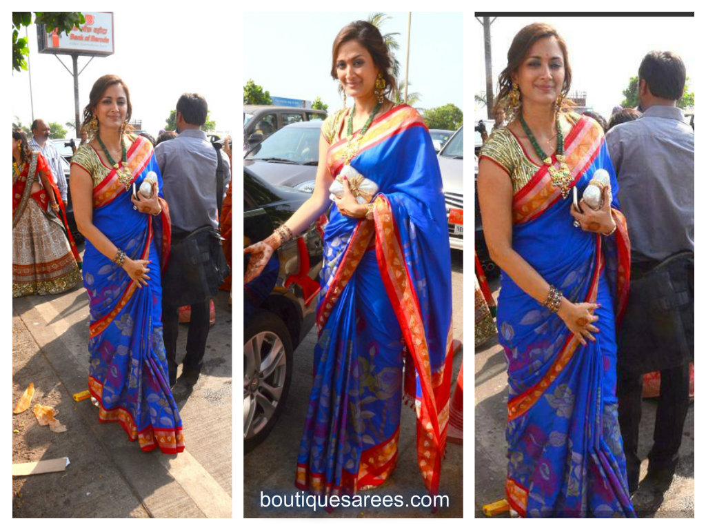 gayatri joshi in blue silk saree