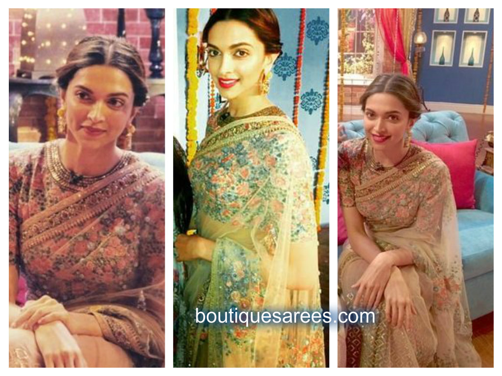 deepika in net saree
