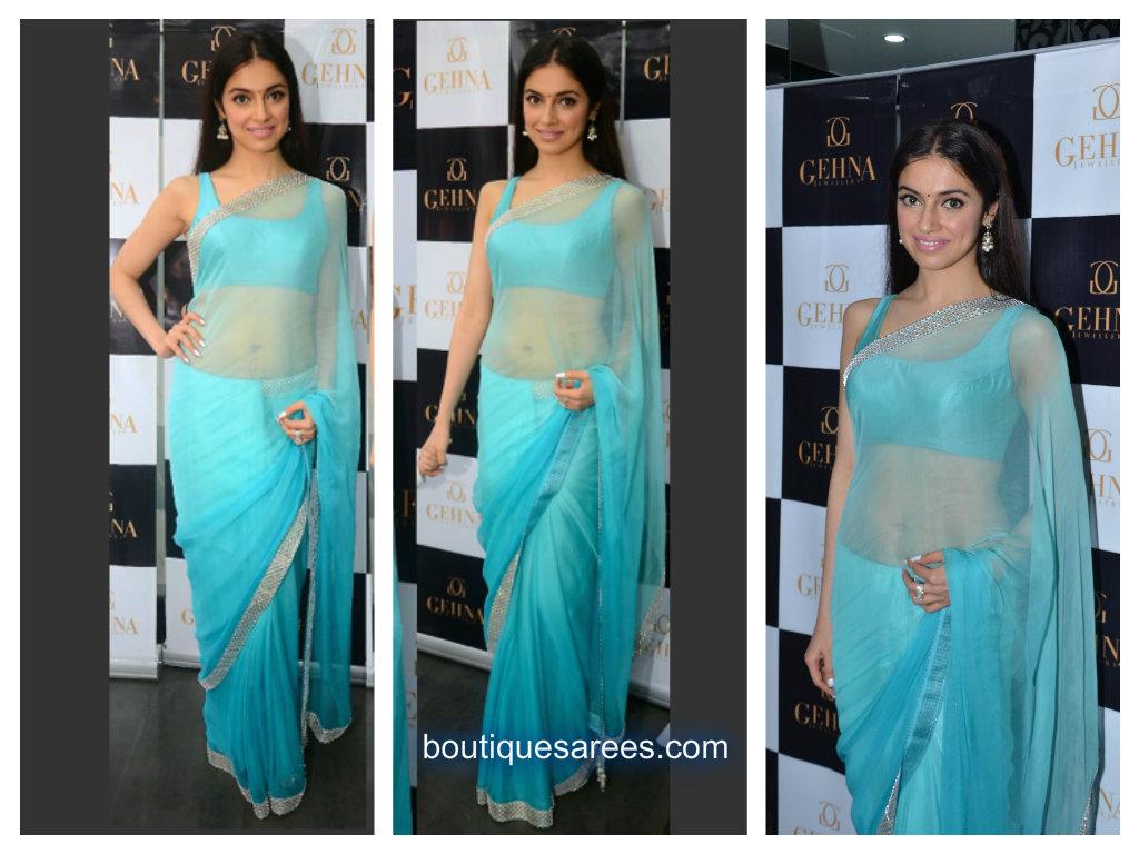 divya khosla in blue saree