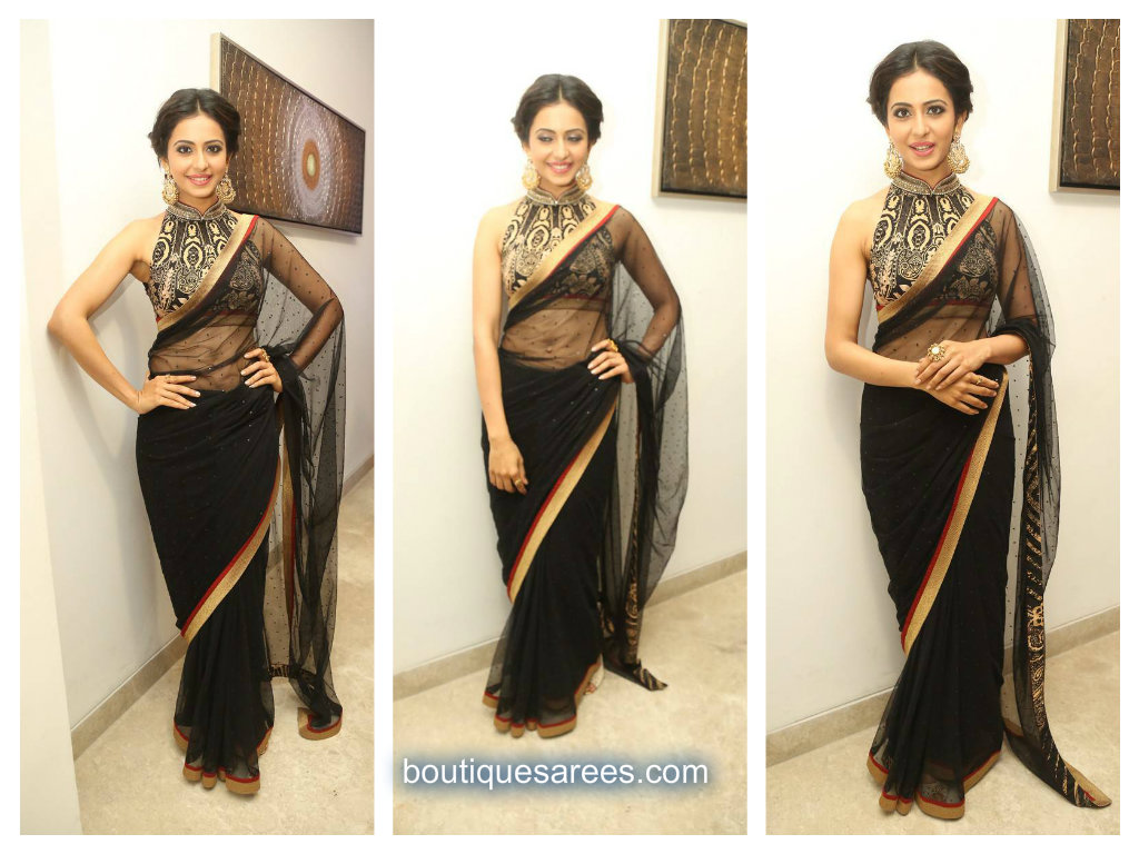 rakul in black saree