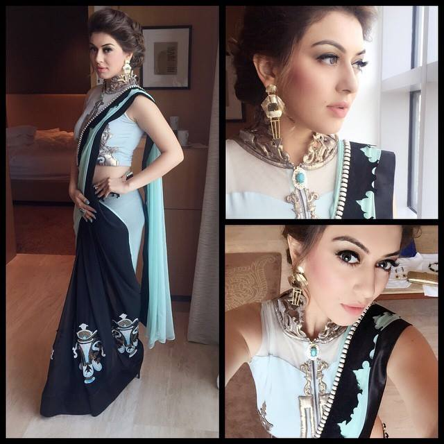 hansika in Sounia Gohil saree