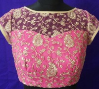 pink embroidery blouse design
