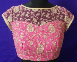 fancy boat neck embroidery blouse designs