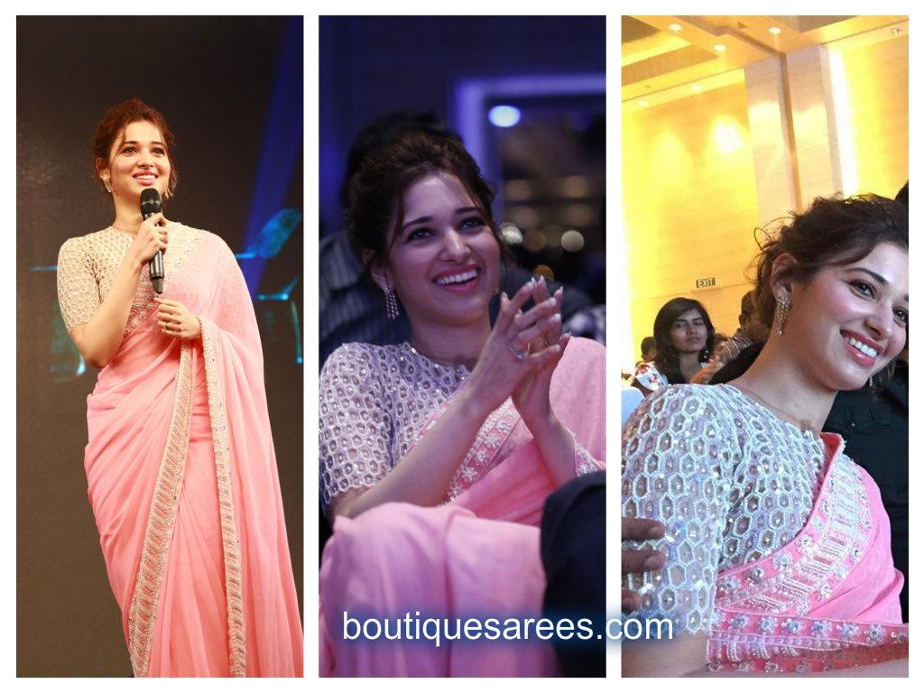 tamannah in pink saree