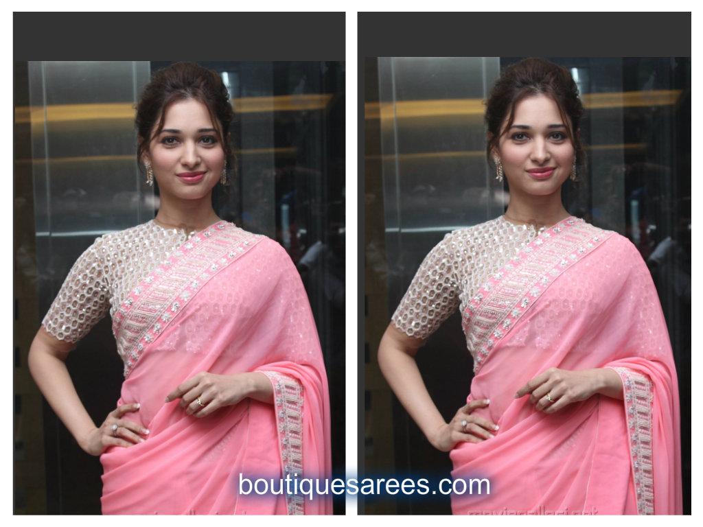 tamannah in pink sari