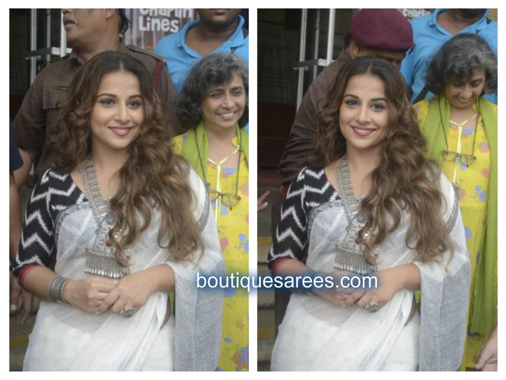 vidya in white sari