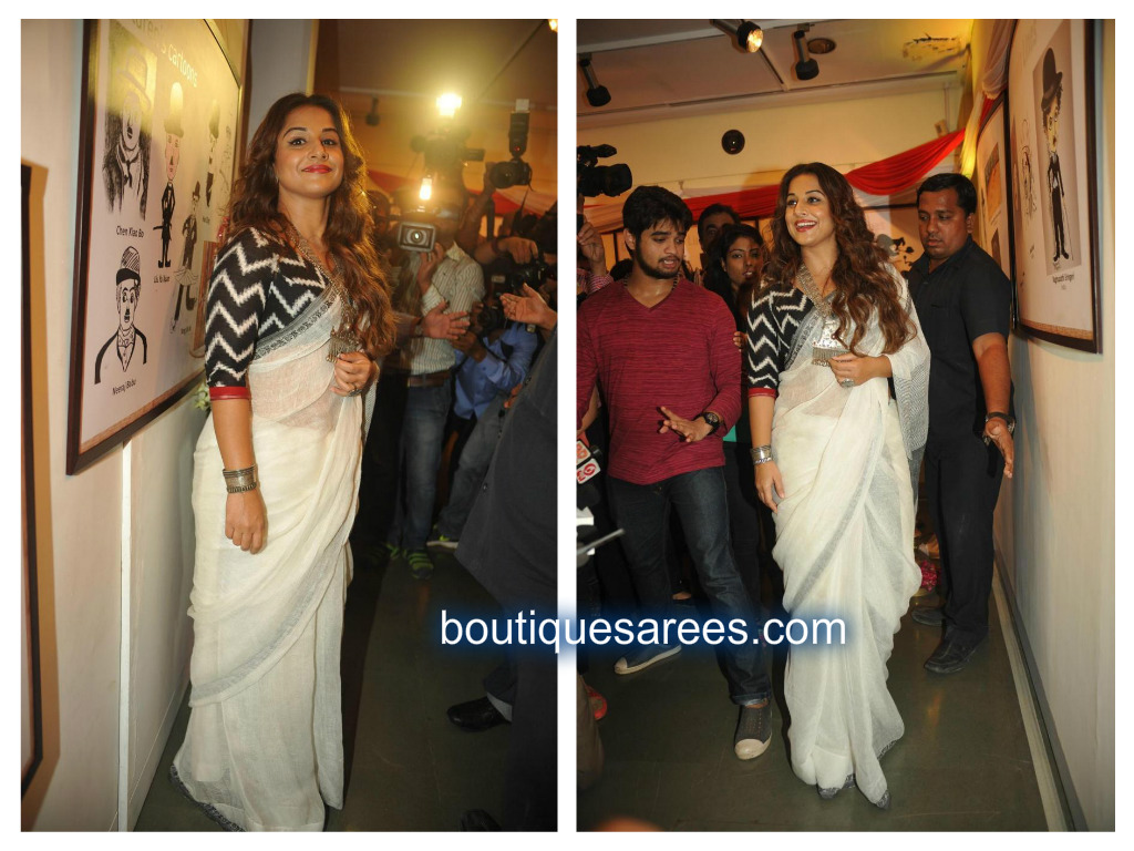 vidya in white saris