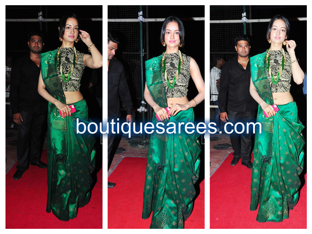shanvi in geen silk saree