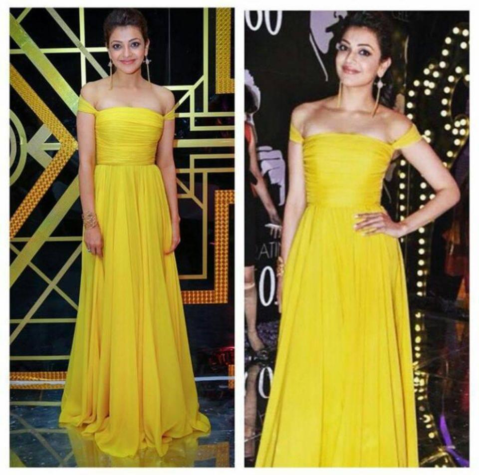kajal in yellow dress