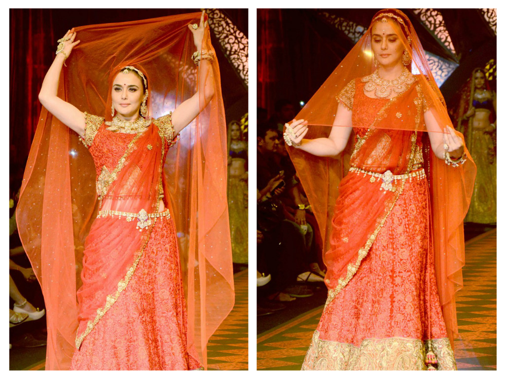 preety zinta in red lehenga embroidery blouse