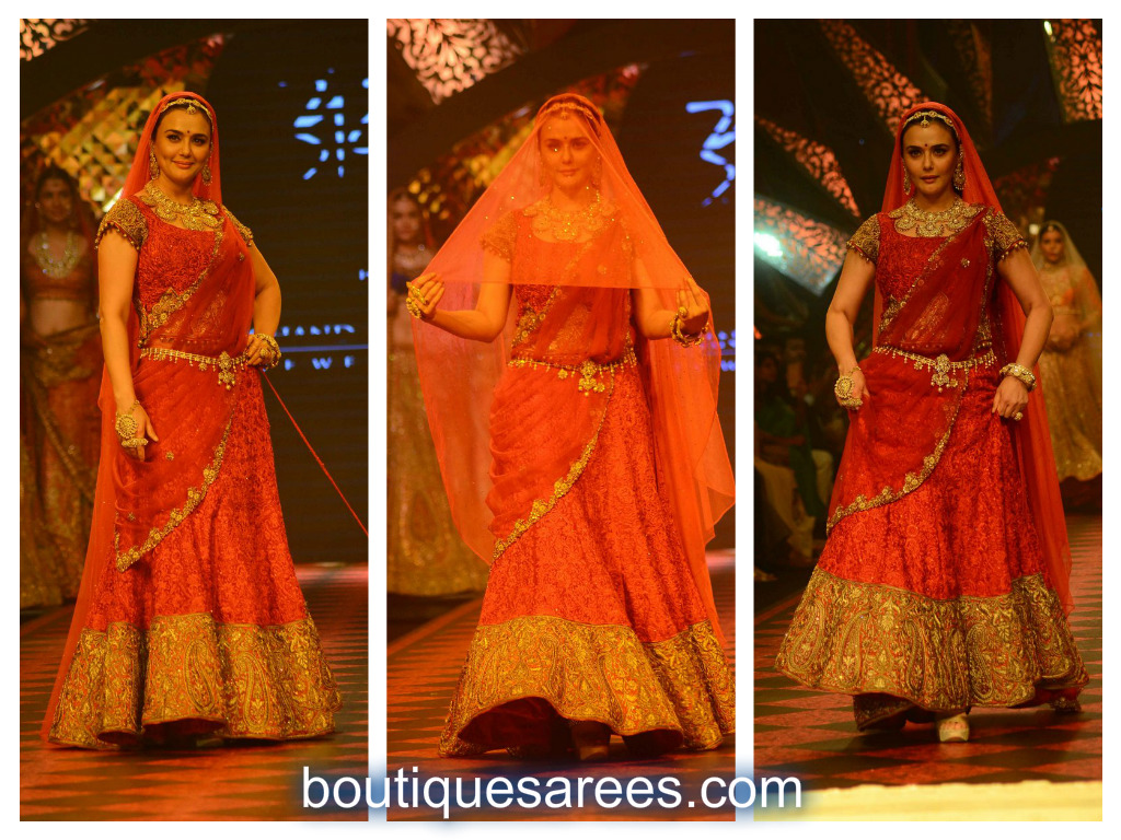 preety zinta in red lehenga embroidery