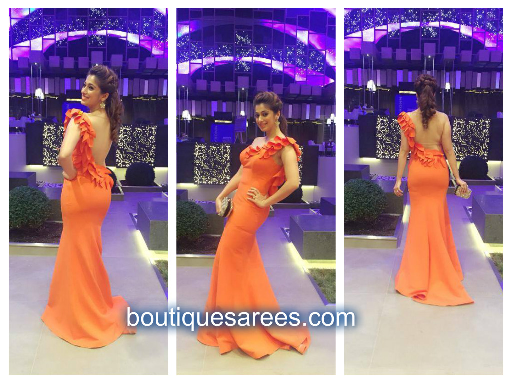 raai lakshmi in orange dress