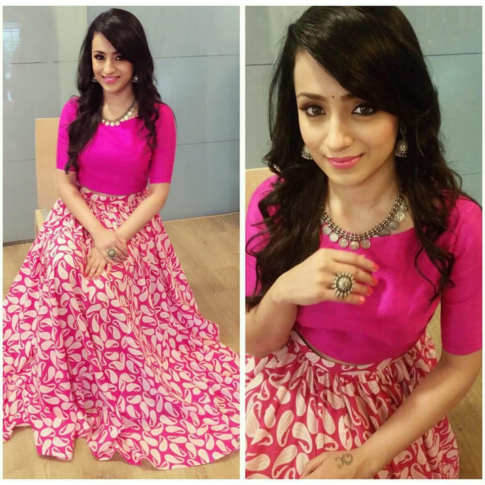 trisha in pink lehenga