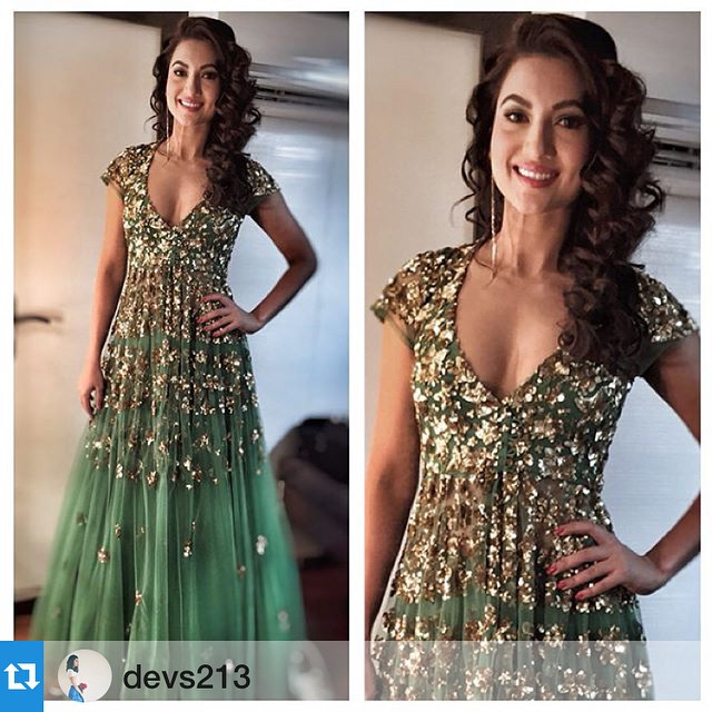 gauhar khan in greene embroidery lehenga