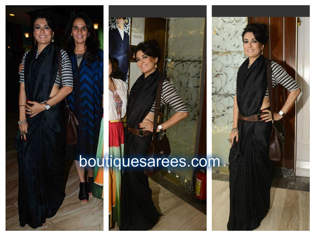 mini matur in black saree