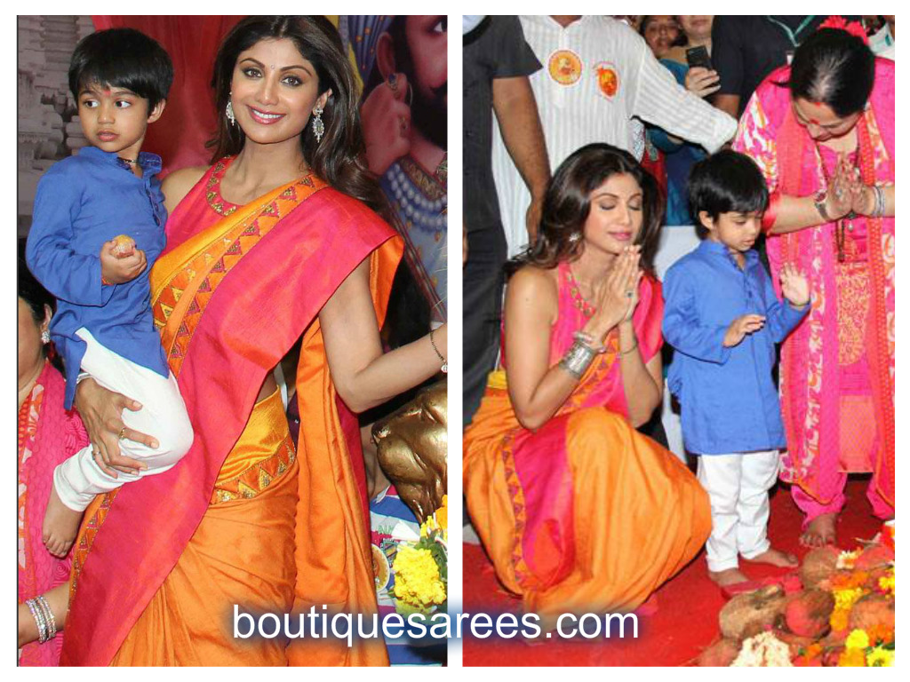 shilpa shetty in silk saree
