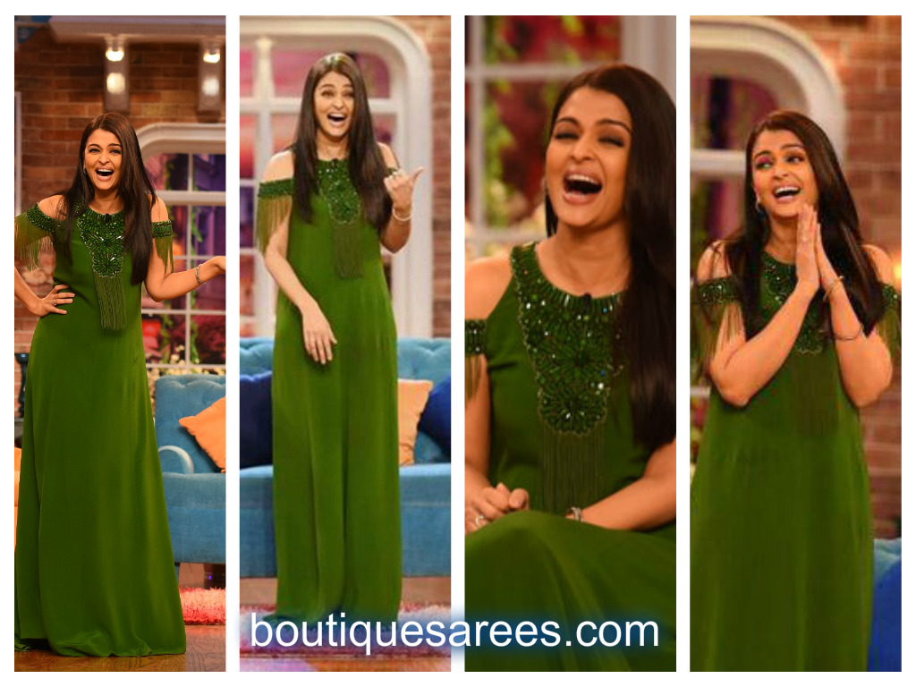 aish in green dress