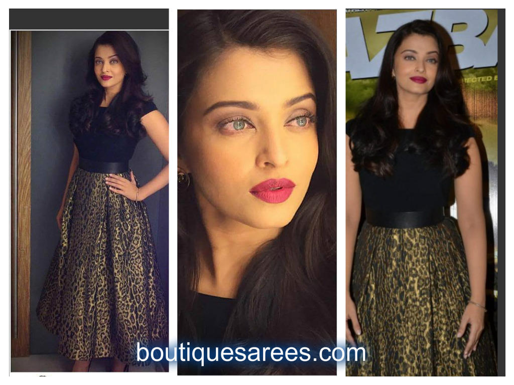 aish in leopard dress
