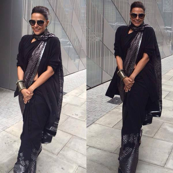 neha dhupia in black saree