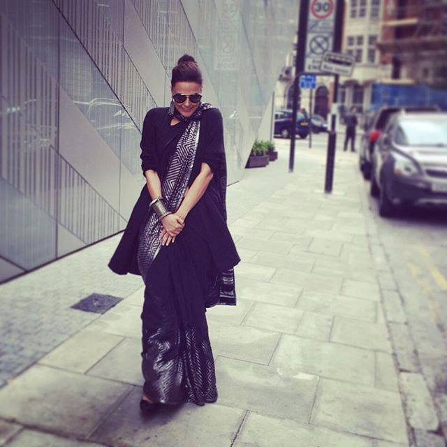 neha dhupia in satya paul saree