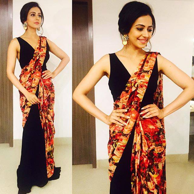 rakul in half and half saree
