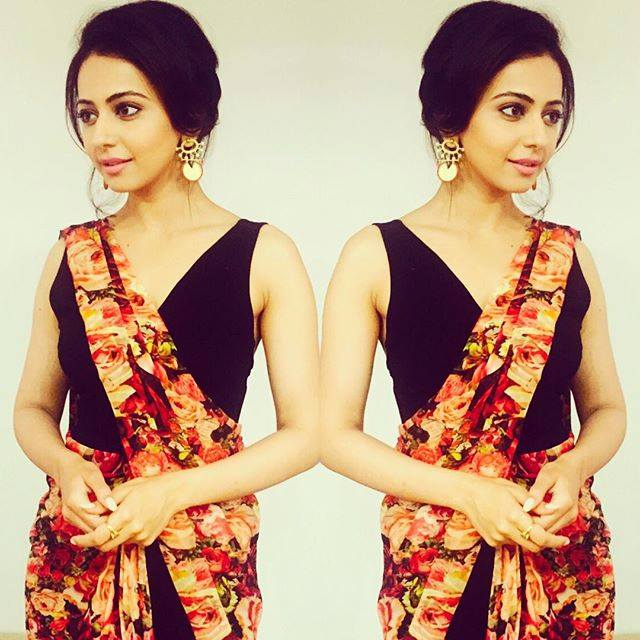 rakul in half and half sari
