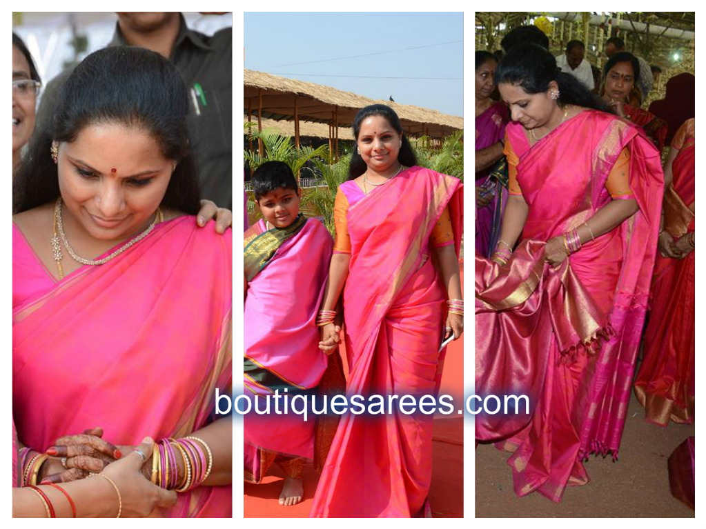 kavitha in pink silk saree
