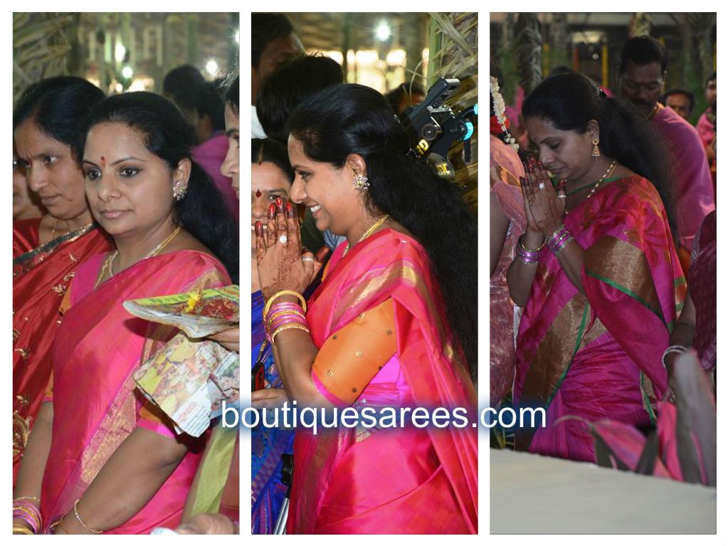 kavitha in pink silk sari