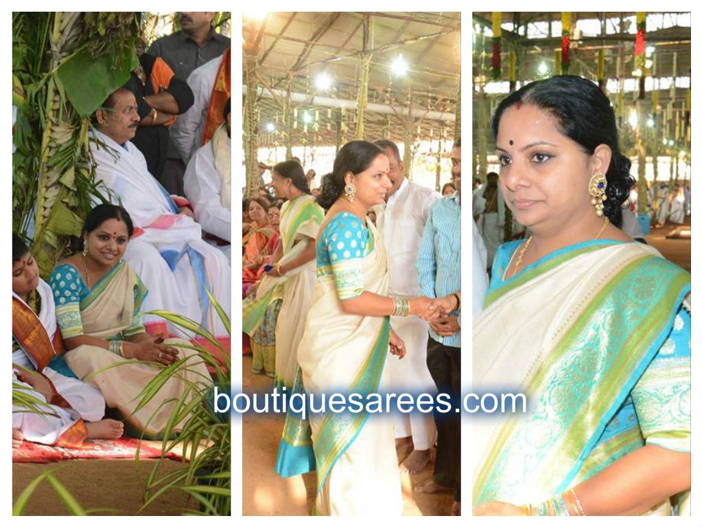 kavitha in white silk sari