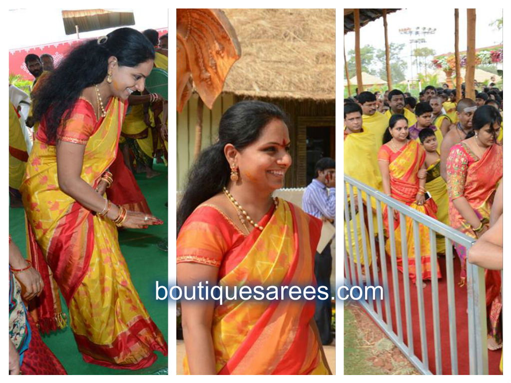 kavitha yellow silk sari