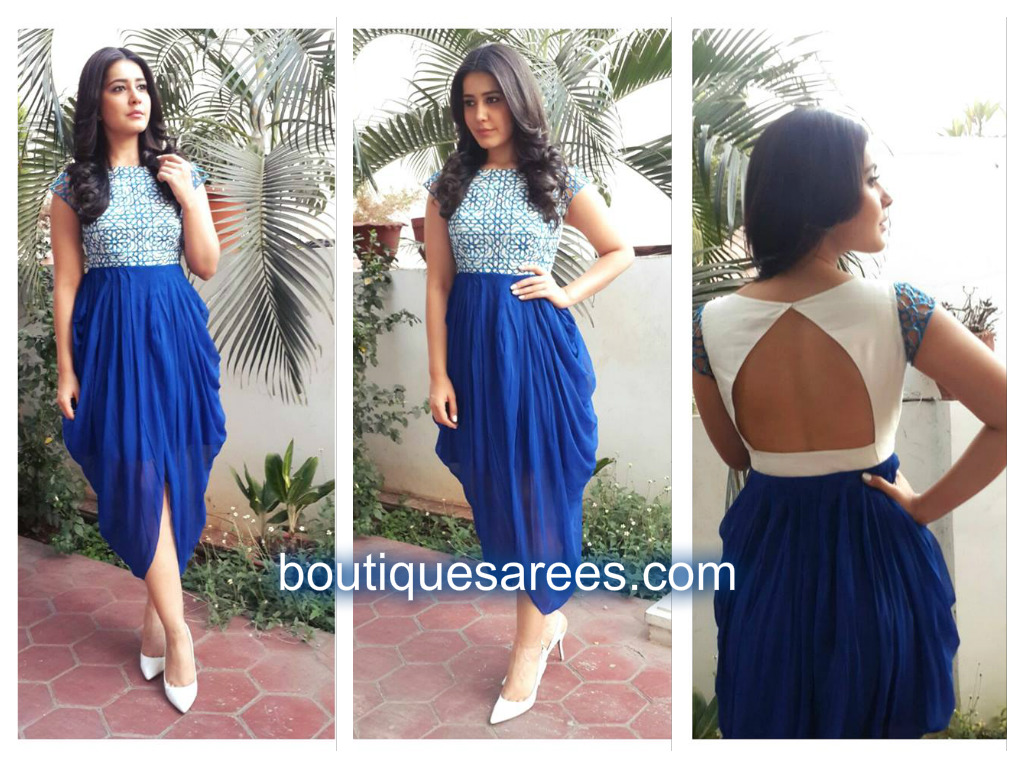 raashi in blue dress