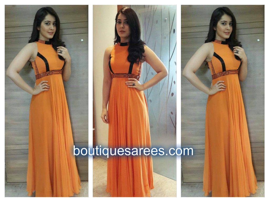 raashi khanna in orange dress