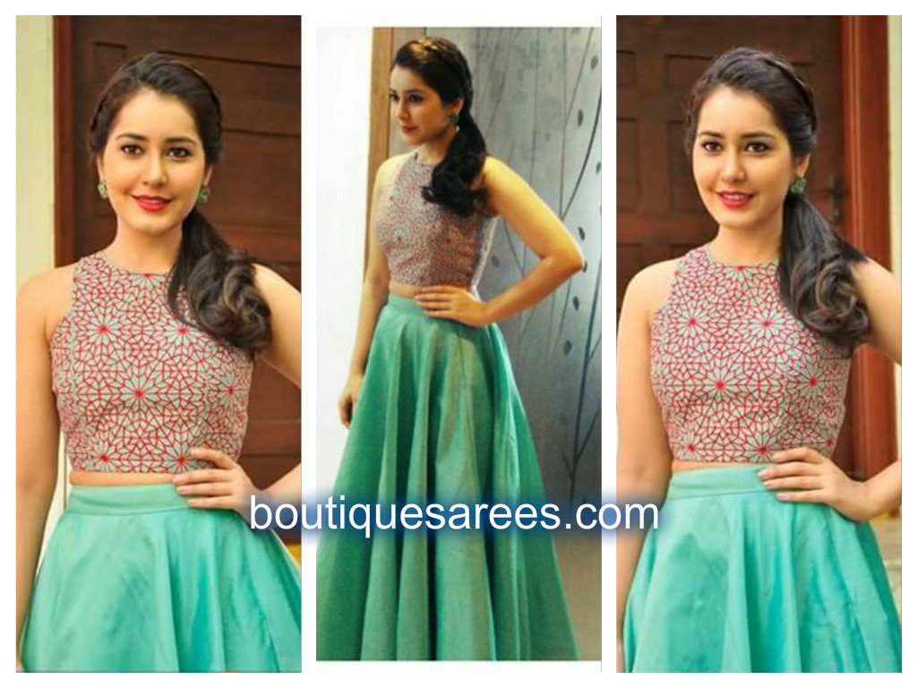 rashi khanna in green lehenga