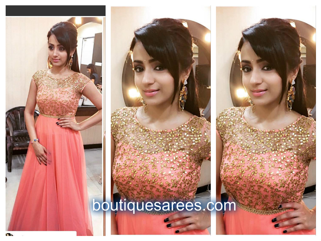 trisha in peach anarkali