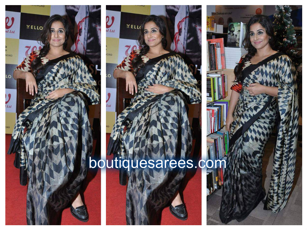 vidya balan in checks saree